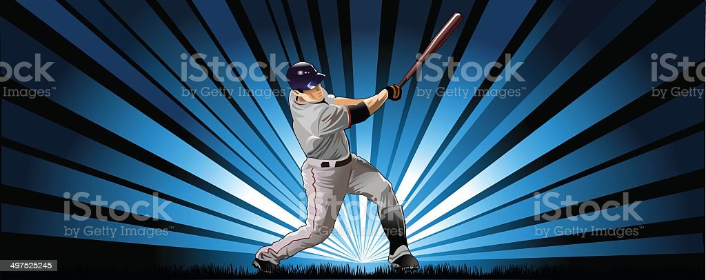 player in baseball vector art illustration