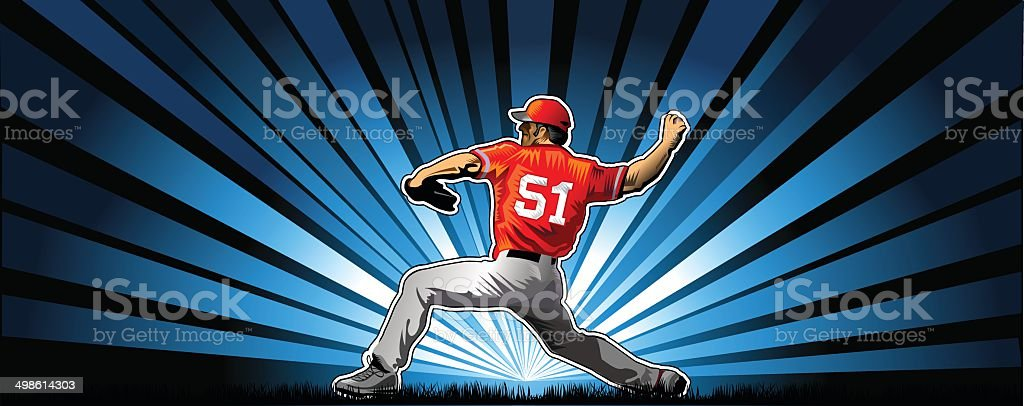 player in baseball vector art illustration