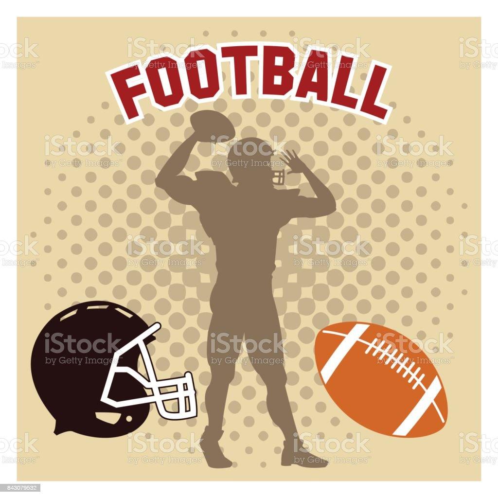 Player of american football design vector art illustration