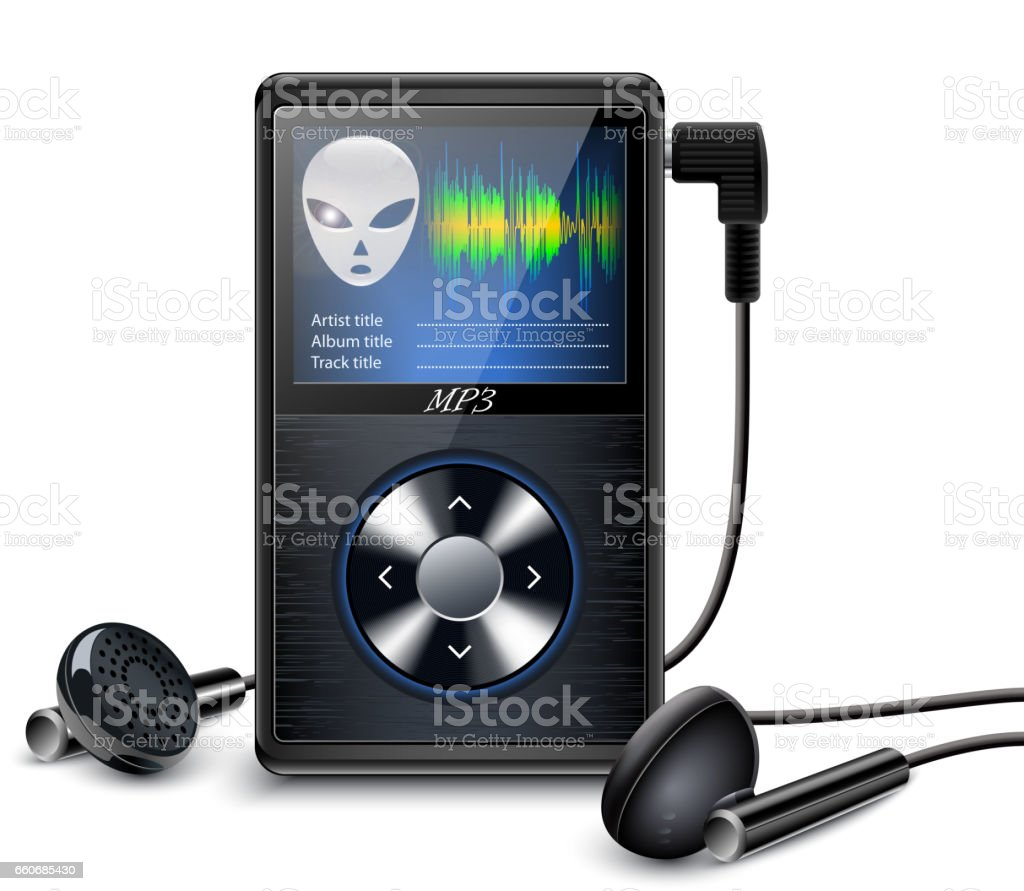 MP3 Player with Earbuds vector art illustration
