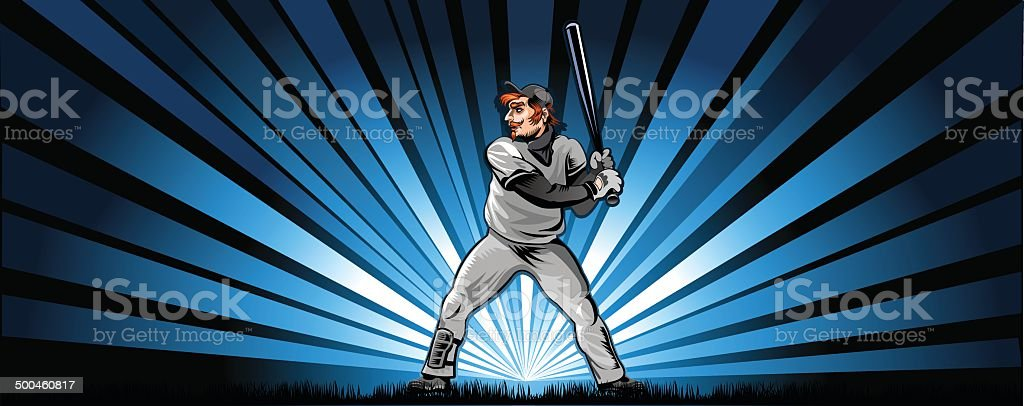 players in baseball vector art illustration