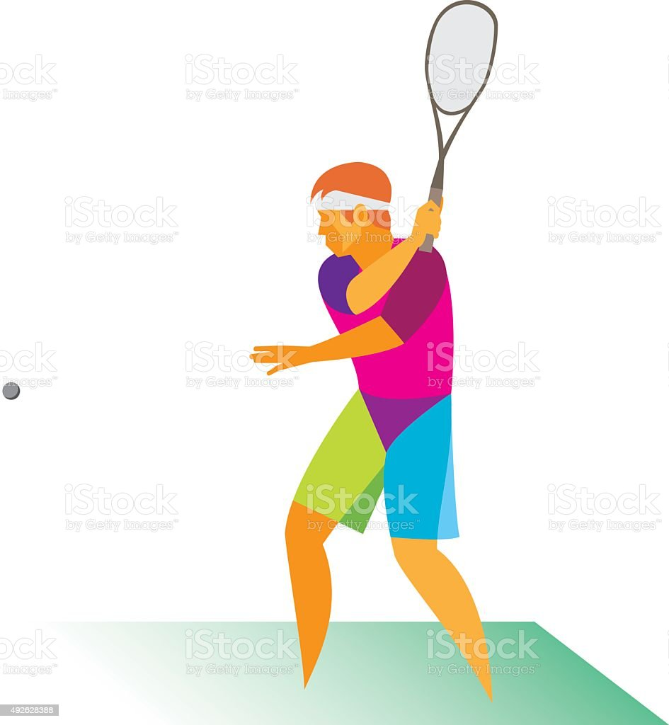 Player.Squash vector art illustration