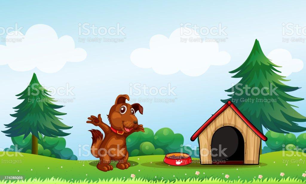 playful brown puppy vector art illustration