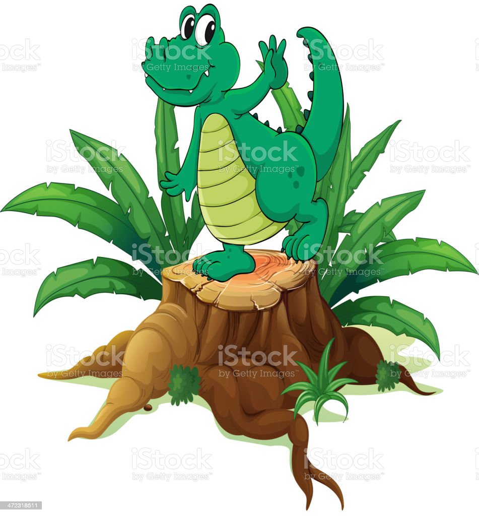Playful crocodile above the wood royalty-free stock vector art
