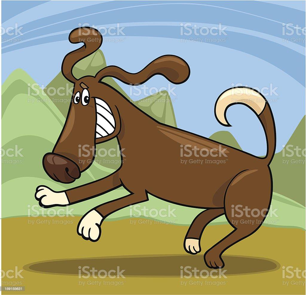 playful dog cartoon illustration vector art illustration