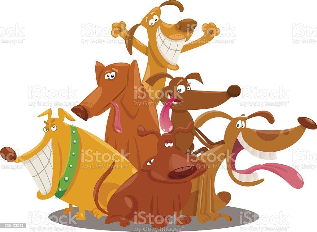 playful dogs group cartoon illustration vector art illustration