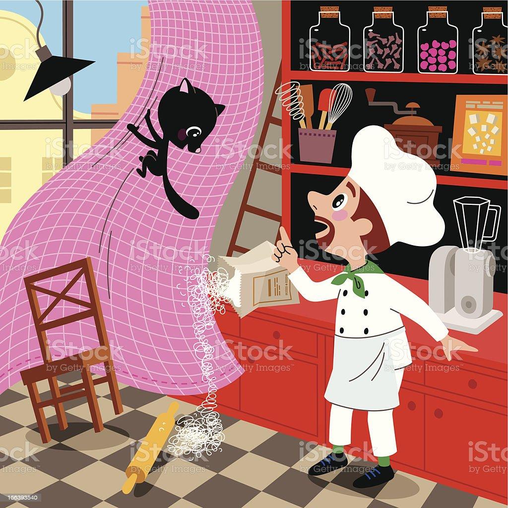 Playful Kitten and Chef. vector art illustration
