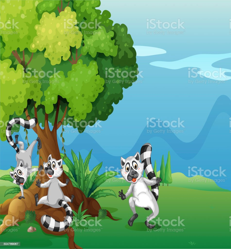 Playful lemurs playing near the big tree royalty-free stock vector art