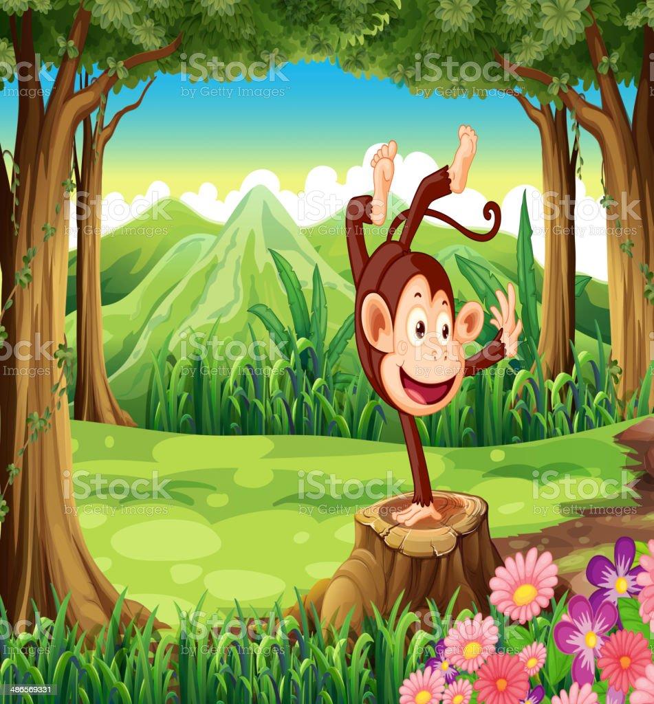 playful monkey above stump near the trees vector art illustration