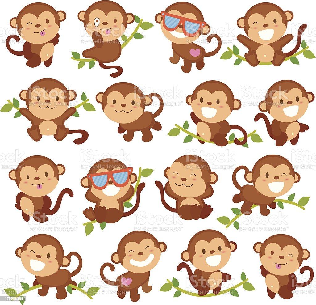 playful monkeys set vector art illustration