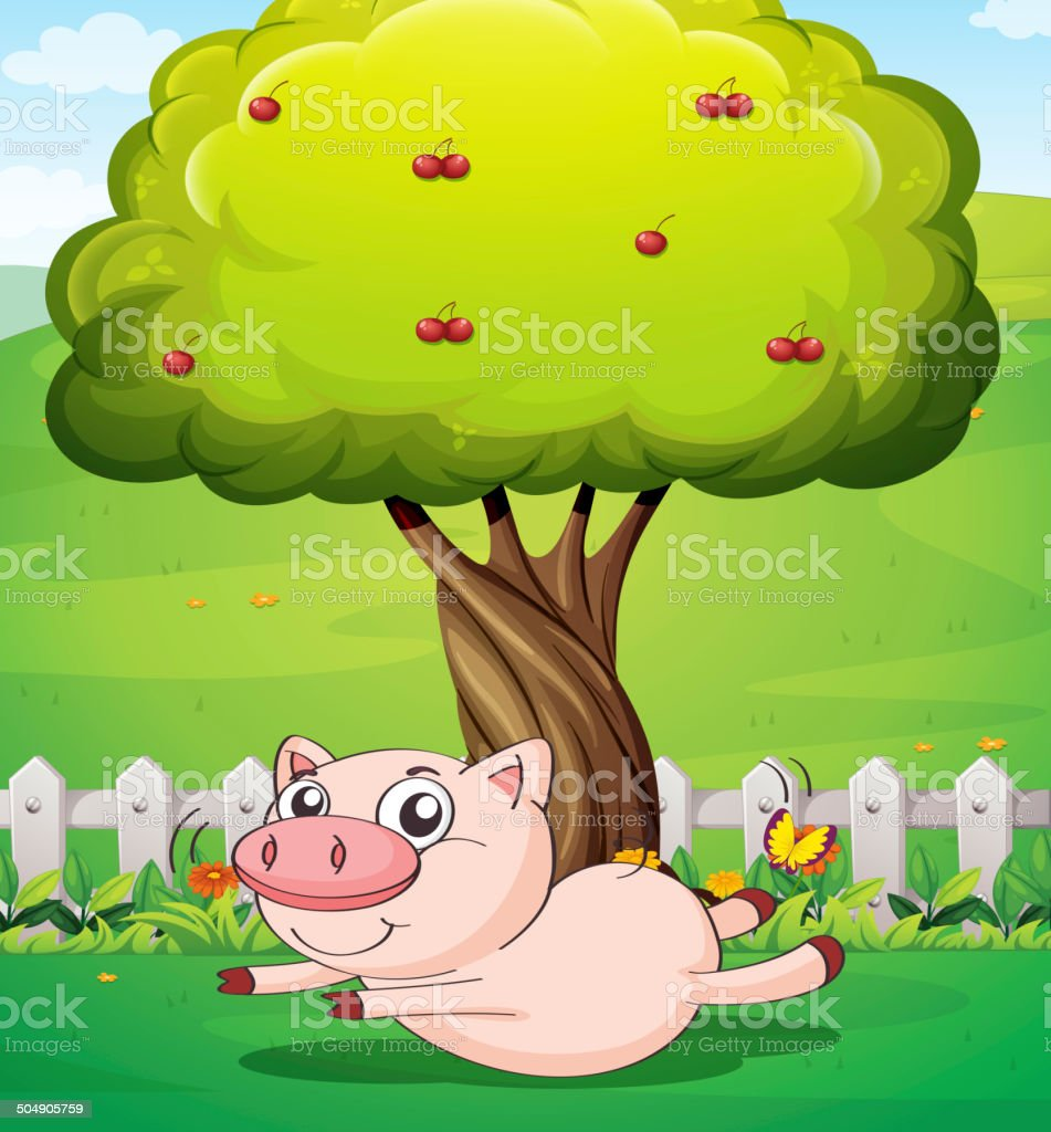 Playful pig under the cherry tree royalty-free stock vector art