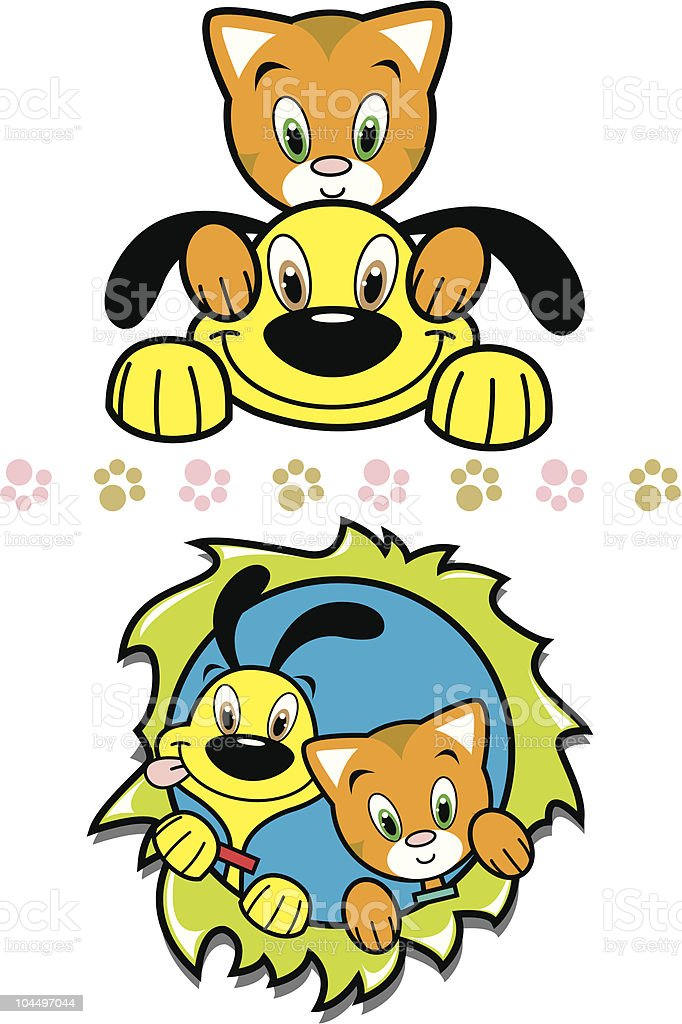 Playful Yellow Puppy & Cute Orange Kitty Friends