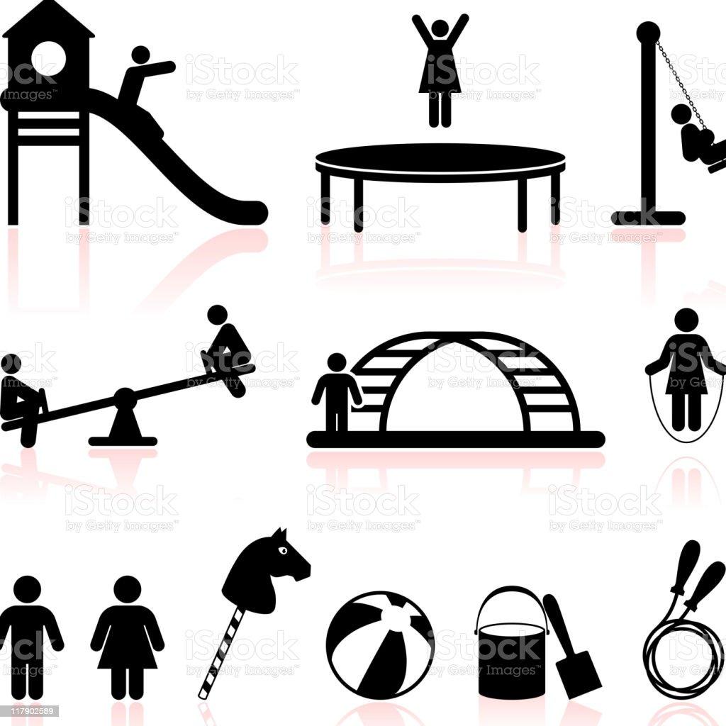playground black and white set vector art illustration