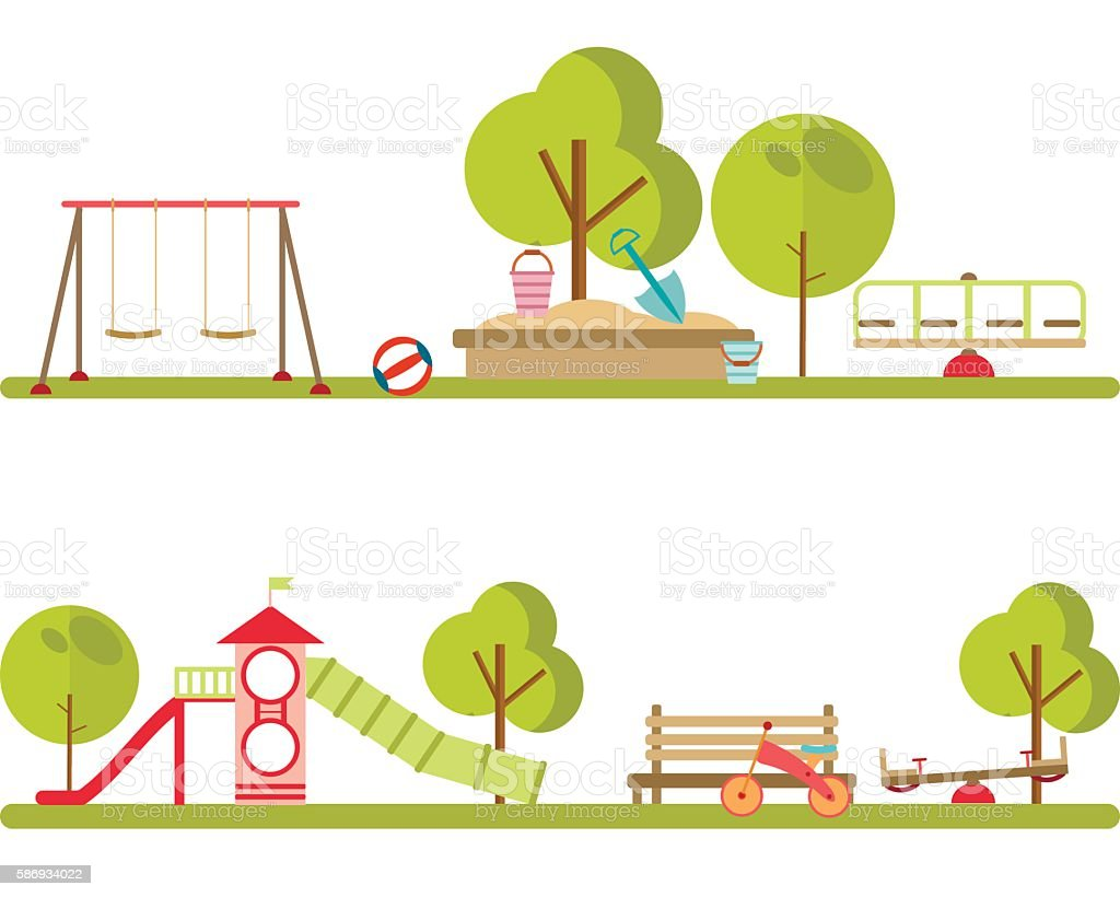 Playground infographic elements vector. vector art illustration