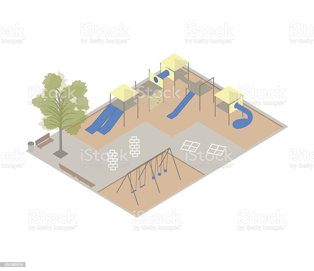 Playground isometric illustration vector art illustration