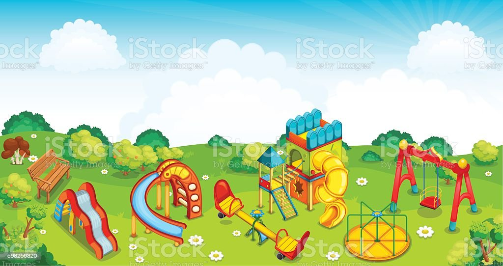 Playground on the meadow. Vector illustration. vector art illustration