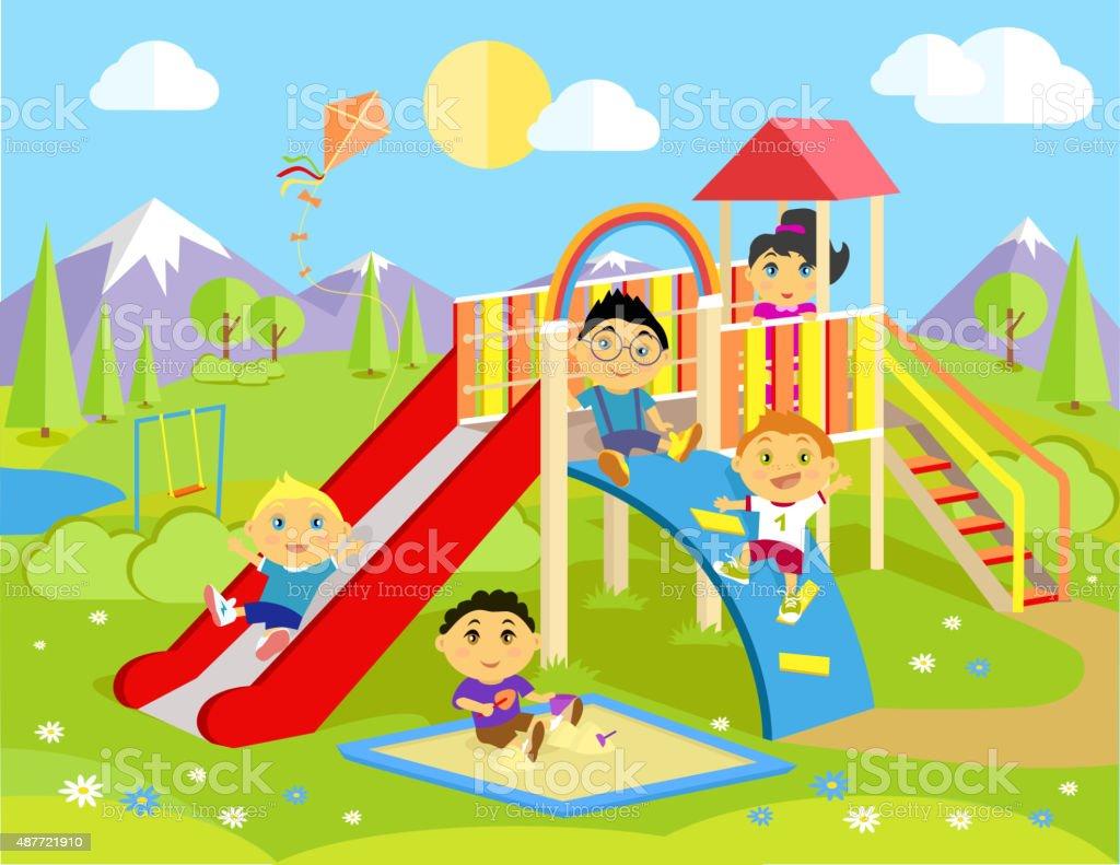 Playground with Slide and Children vector art illustration