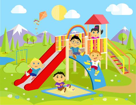 Children Slide Clip Art, Vector Images & Illustrations ...
