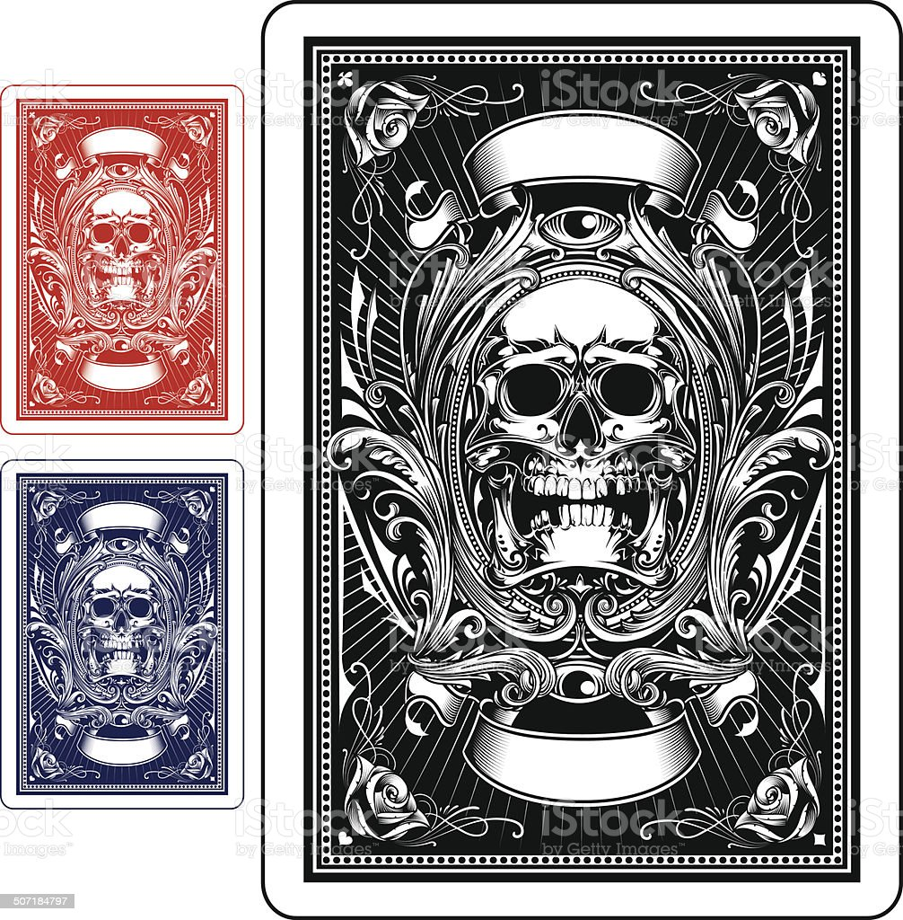Playing Card Back Side vector art illustration