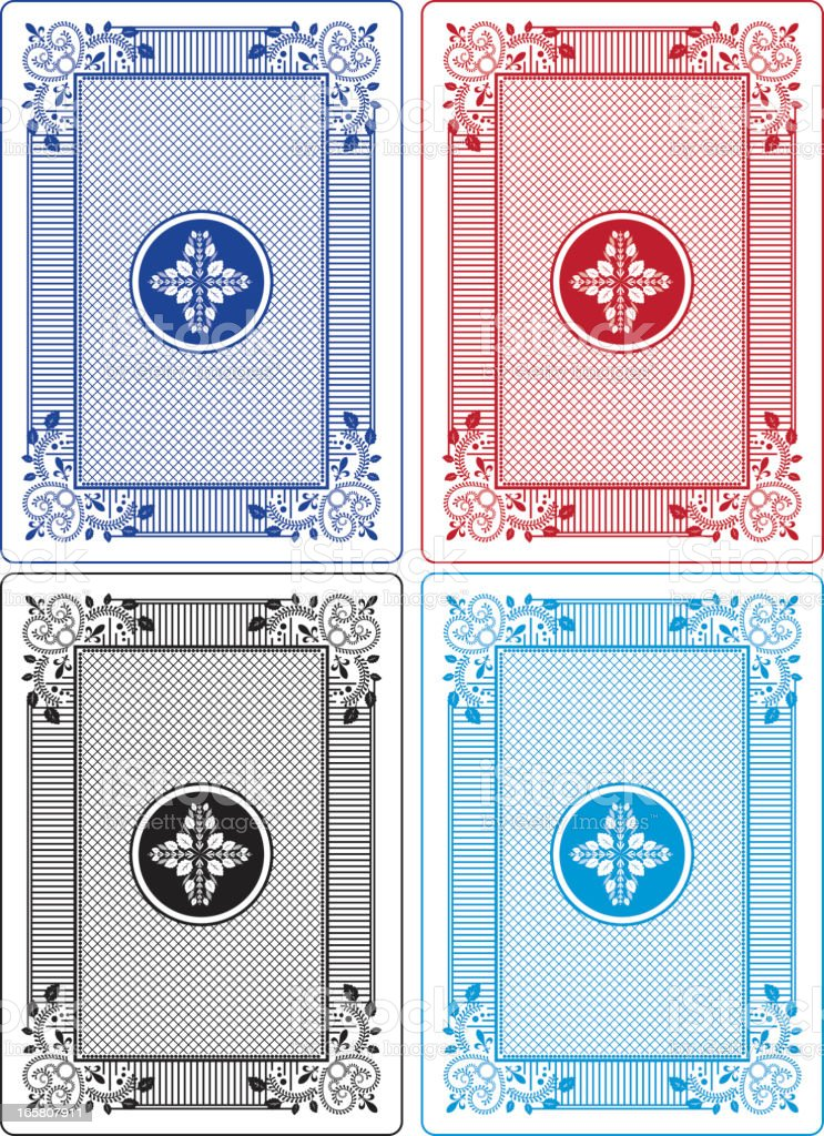 Playing Card Backs Set of Four Different Colors vector art illustration