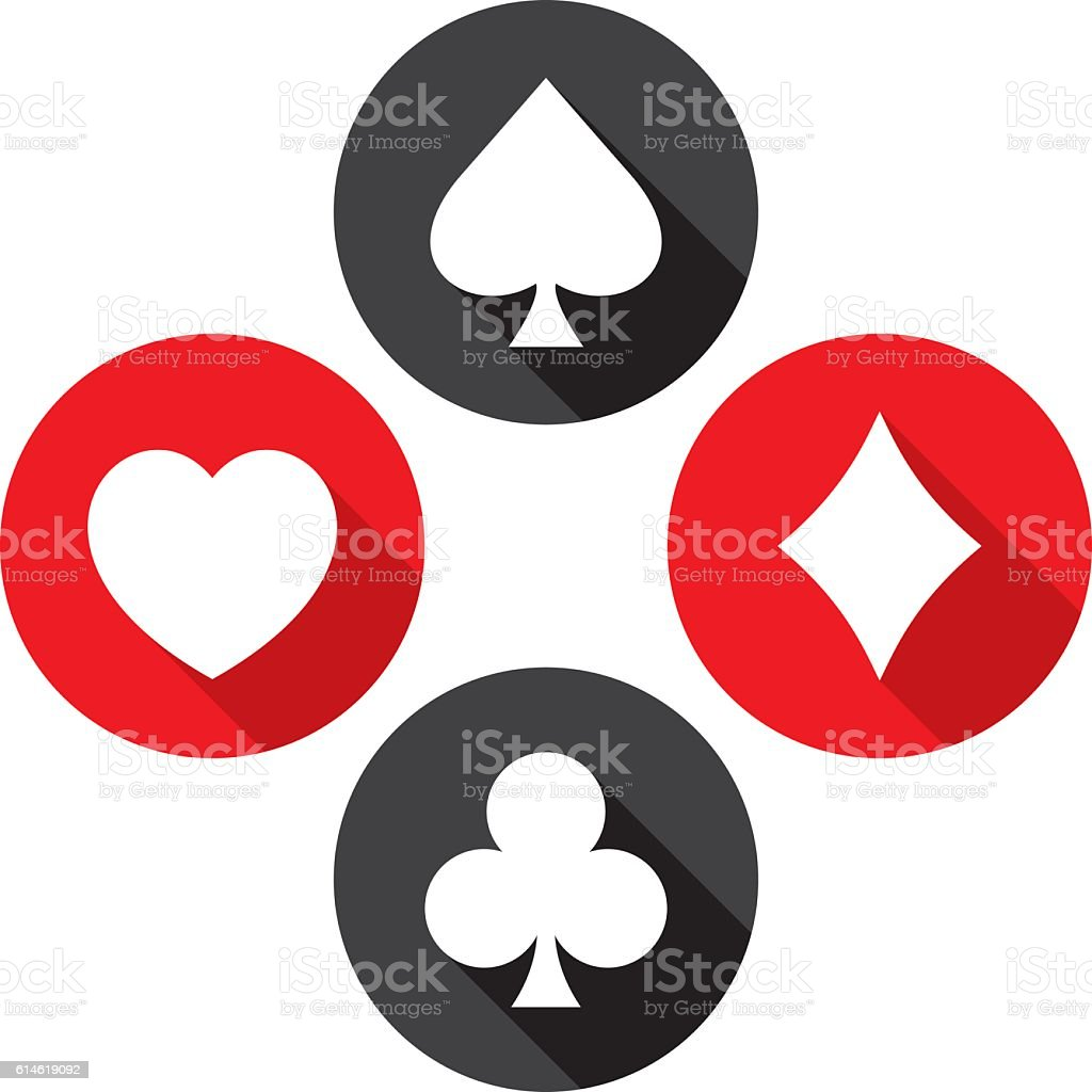 Playing Card Icons Flat Set vector art illustration
