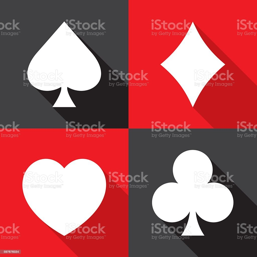 Playing Card Suit Icons Flat Set vector art illustration