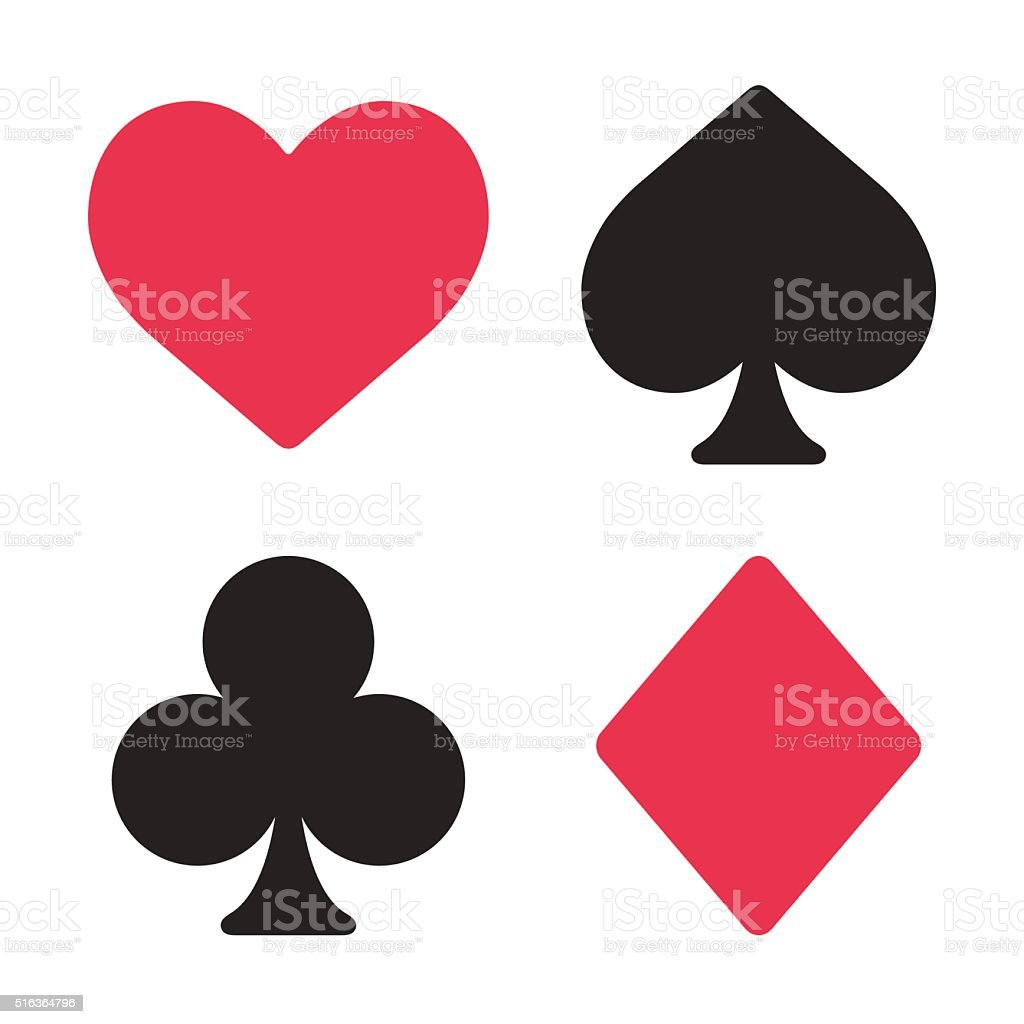 Playing card symbols set vector art illustration