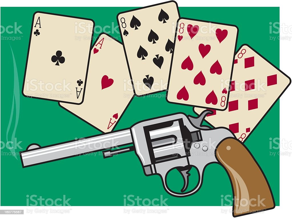 Playing Cards and Gun royalty-free stock vector art
