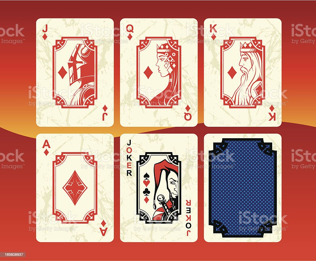 Playing cards diamonds set royalty-free stock vector art