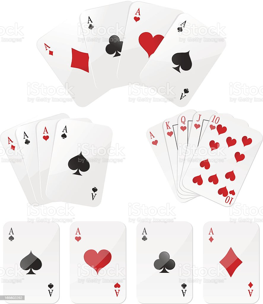 Playing cards Four aces and  Royal Flush vector art illustration
