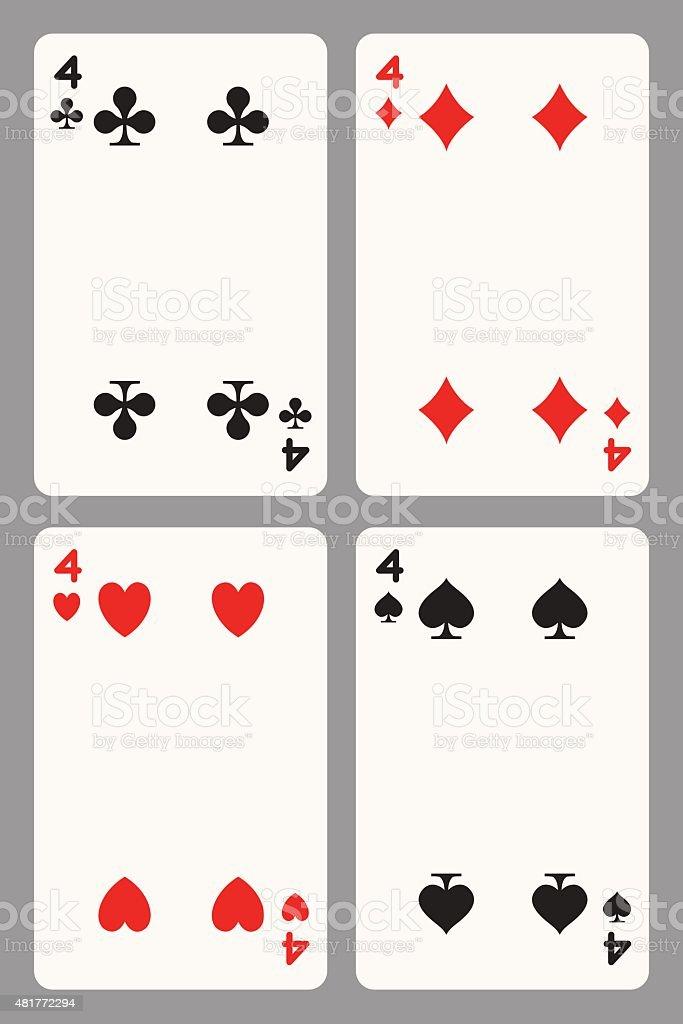 Игральные карты четыре векторная иллюстрация