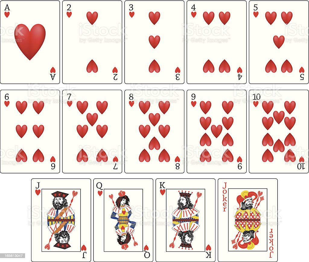 Playing Cards - Hearts Suit royalty-free stock vector art