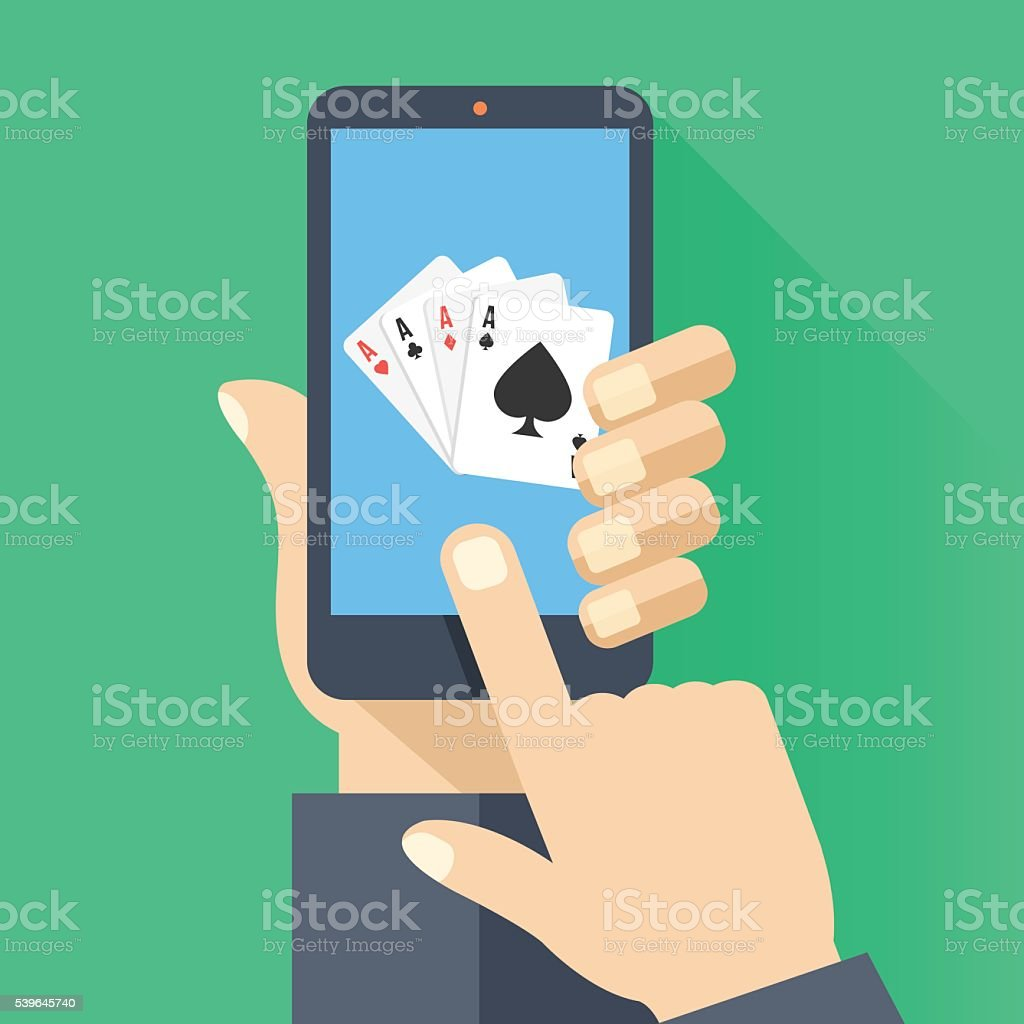Playing cards on smartphone screen. Cellphone poker. Flat vector illustration vector art illustration