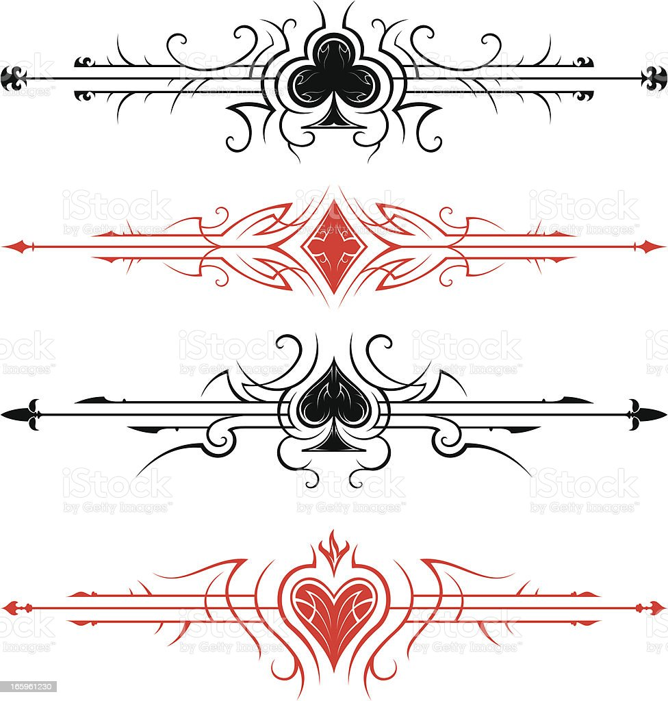 Playing cards page dividers vector art illustration