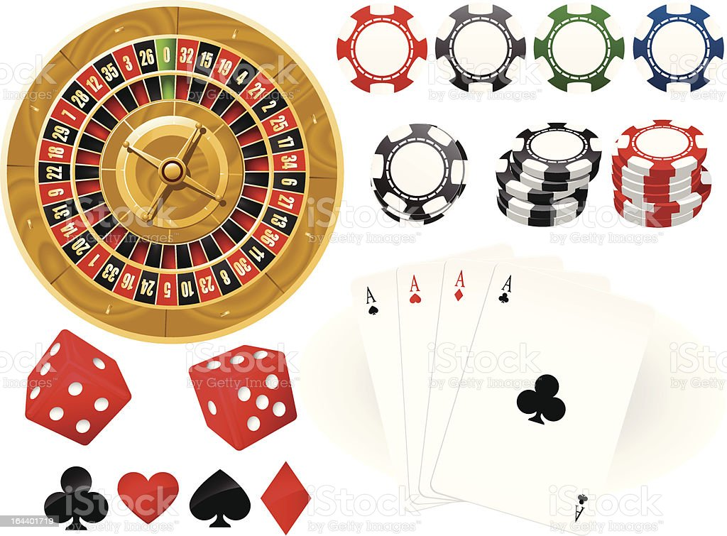 Playing cards, Roulette Wheel and gambling chips vector art illustration