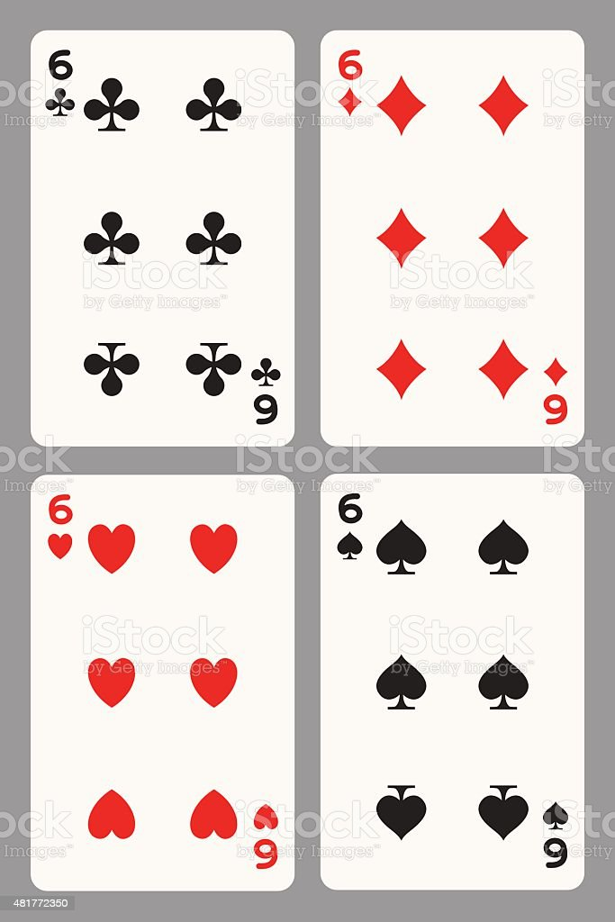 Игральные карты шесть векторная иллюстрация