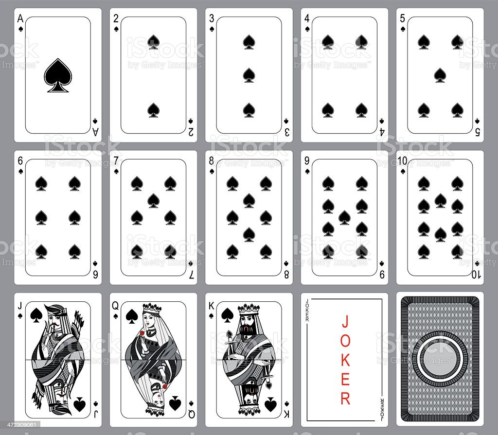 Playing cards Spades Suit vector art illustration