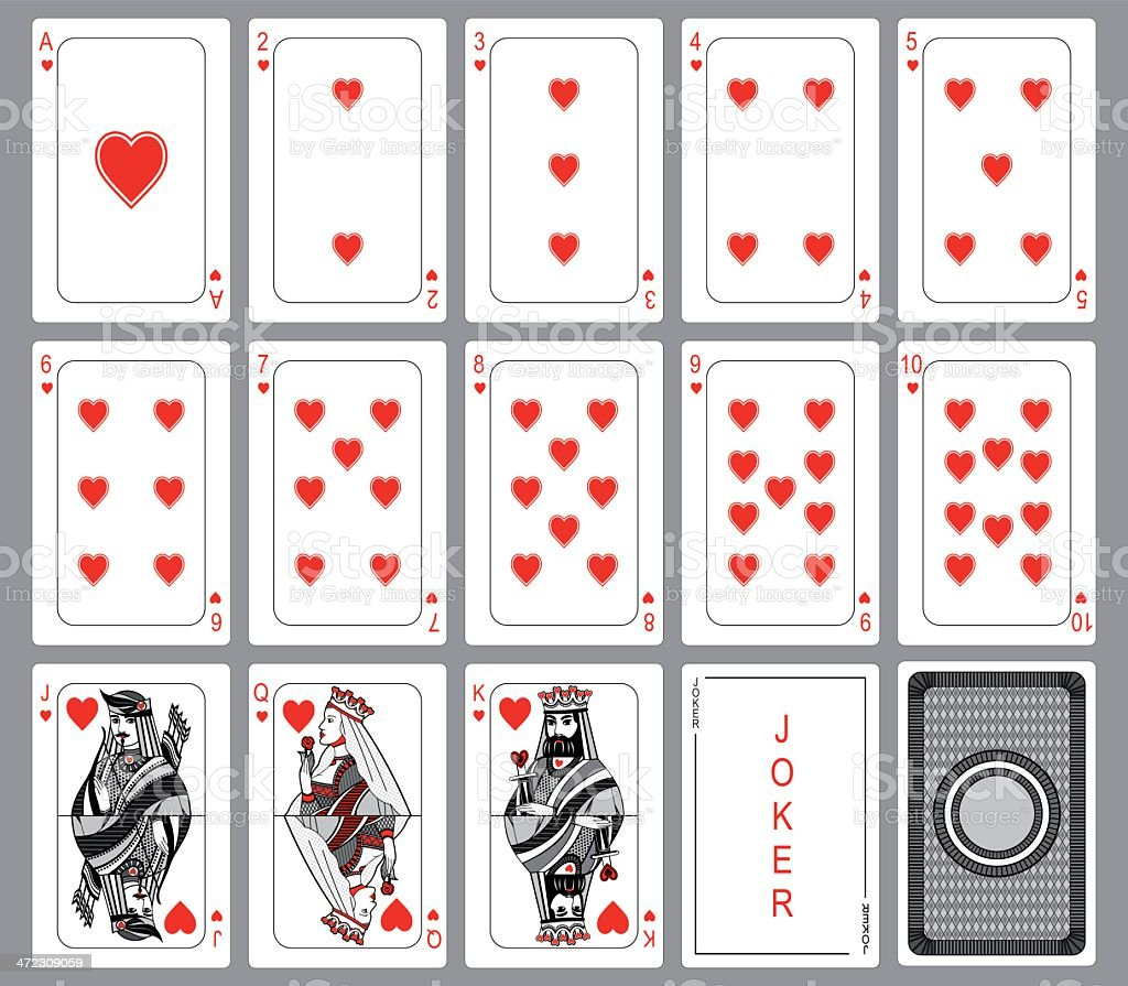 Playing cards suit of hearts vector art illustration