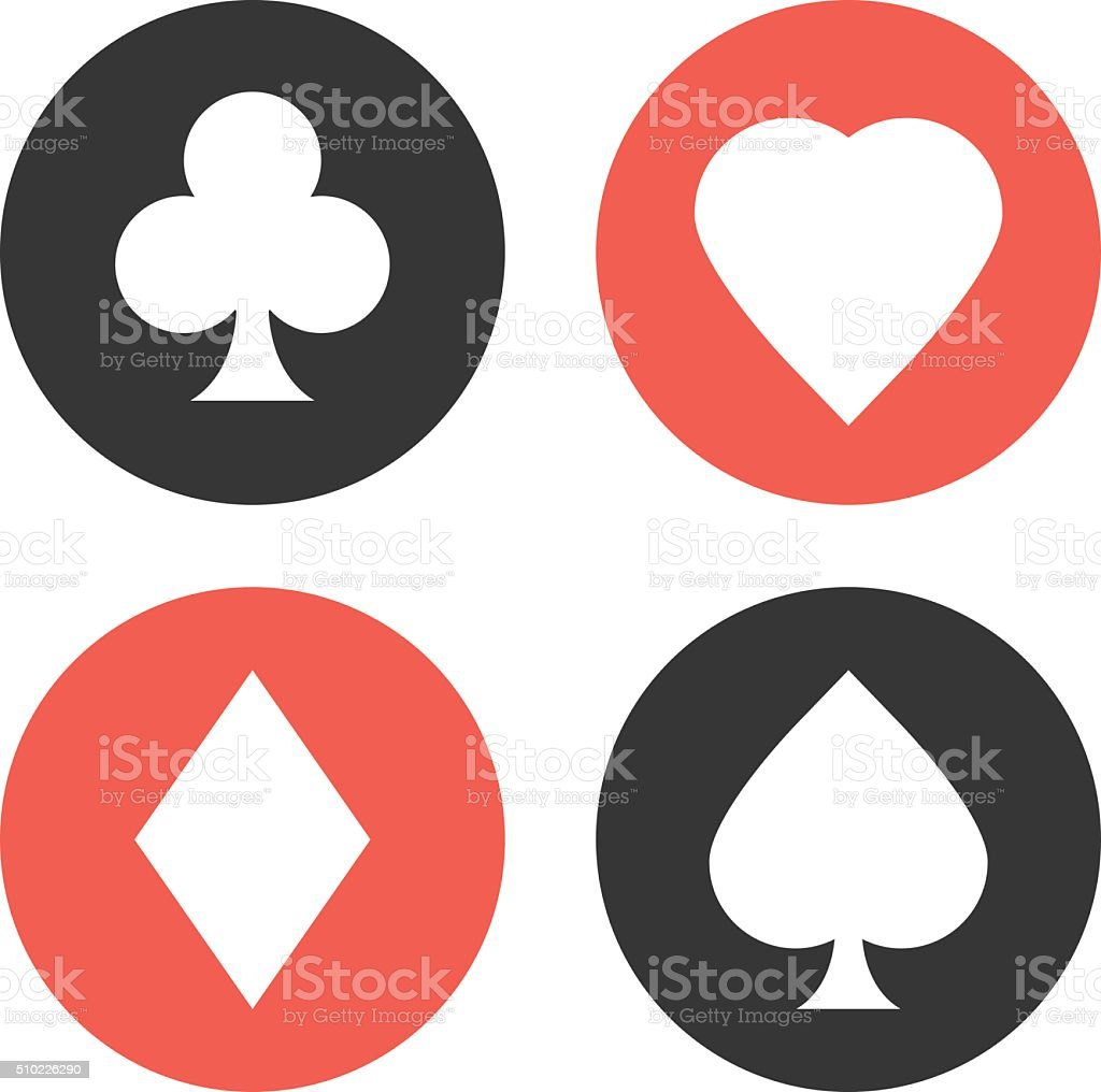 Playing cards suits symbols set. Vector icons set vector art illustration