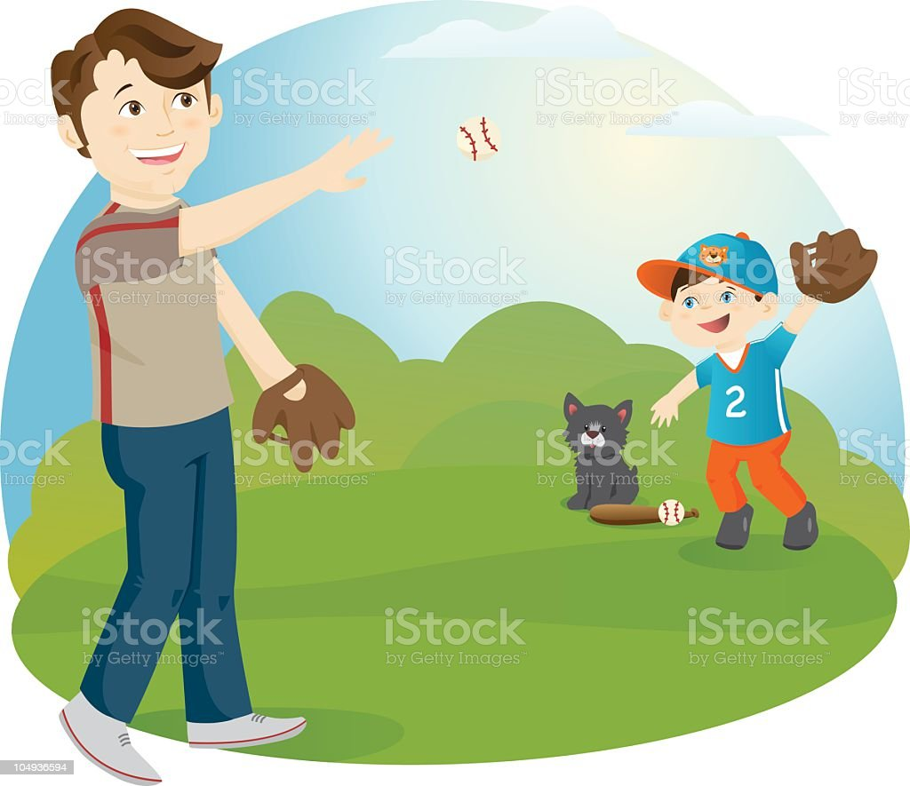 Playing Catch with Dad royalty-free stock vector art