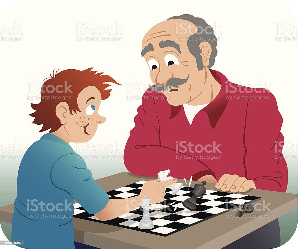 Playing Chess with Grandpa vector art illustration