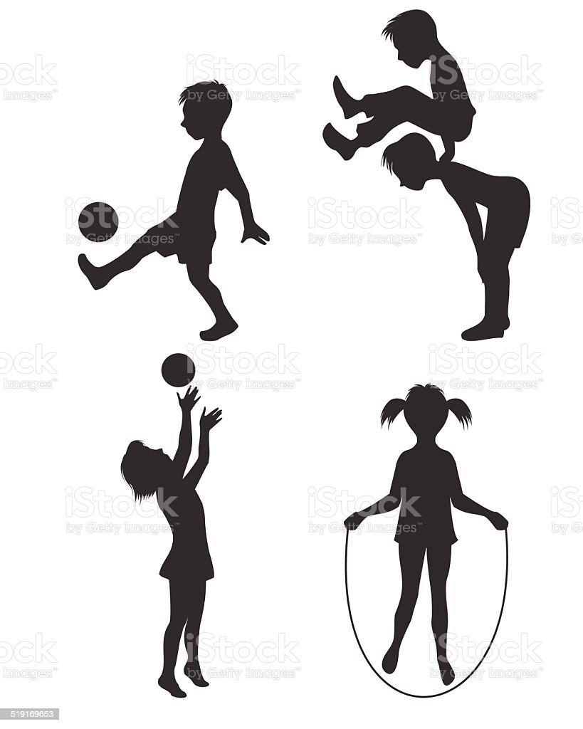 Playing children silhouette vector art illustration