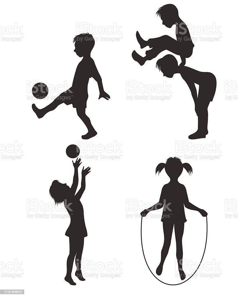 Playing children silhouette vector art illustration