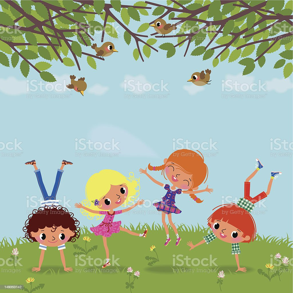 Playing Children. vector art illustration