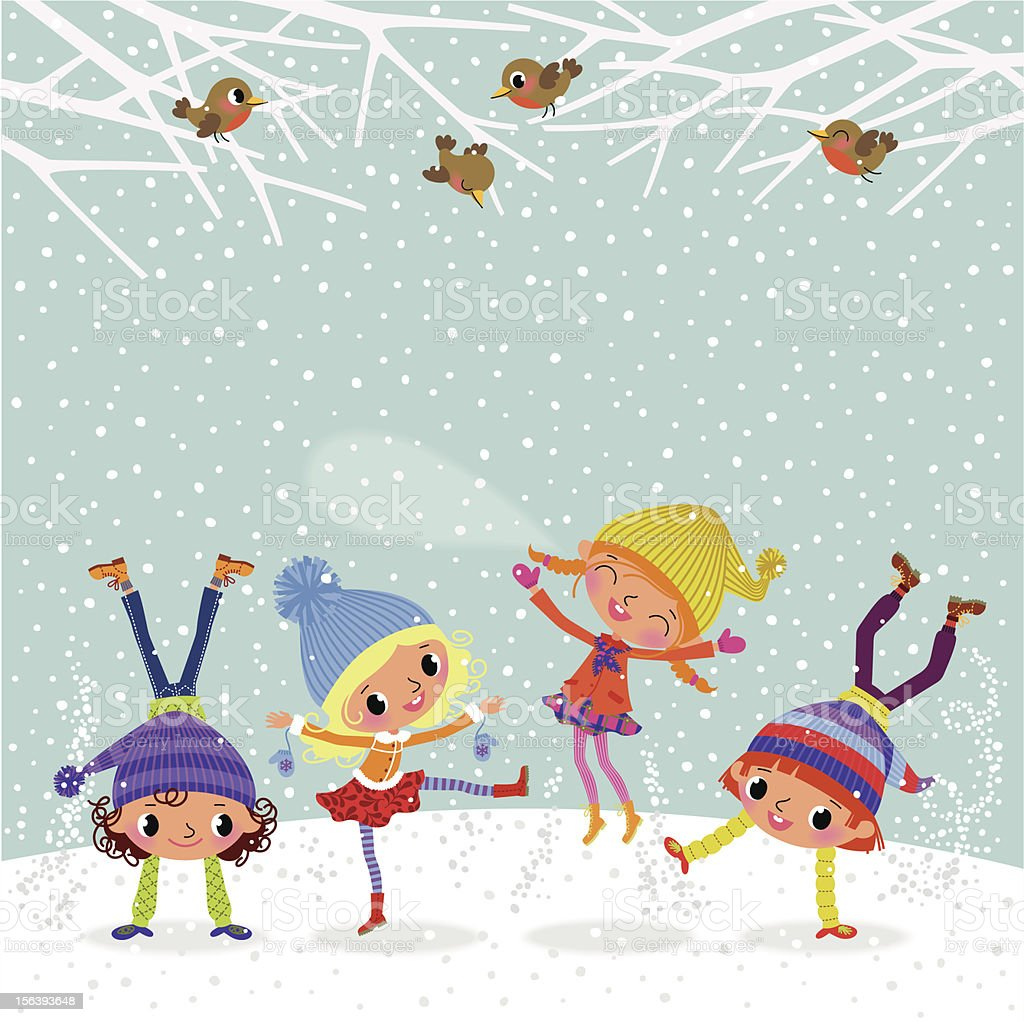Playing Children. vector art illustration