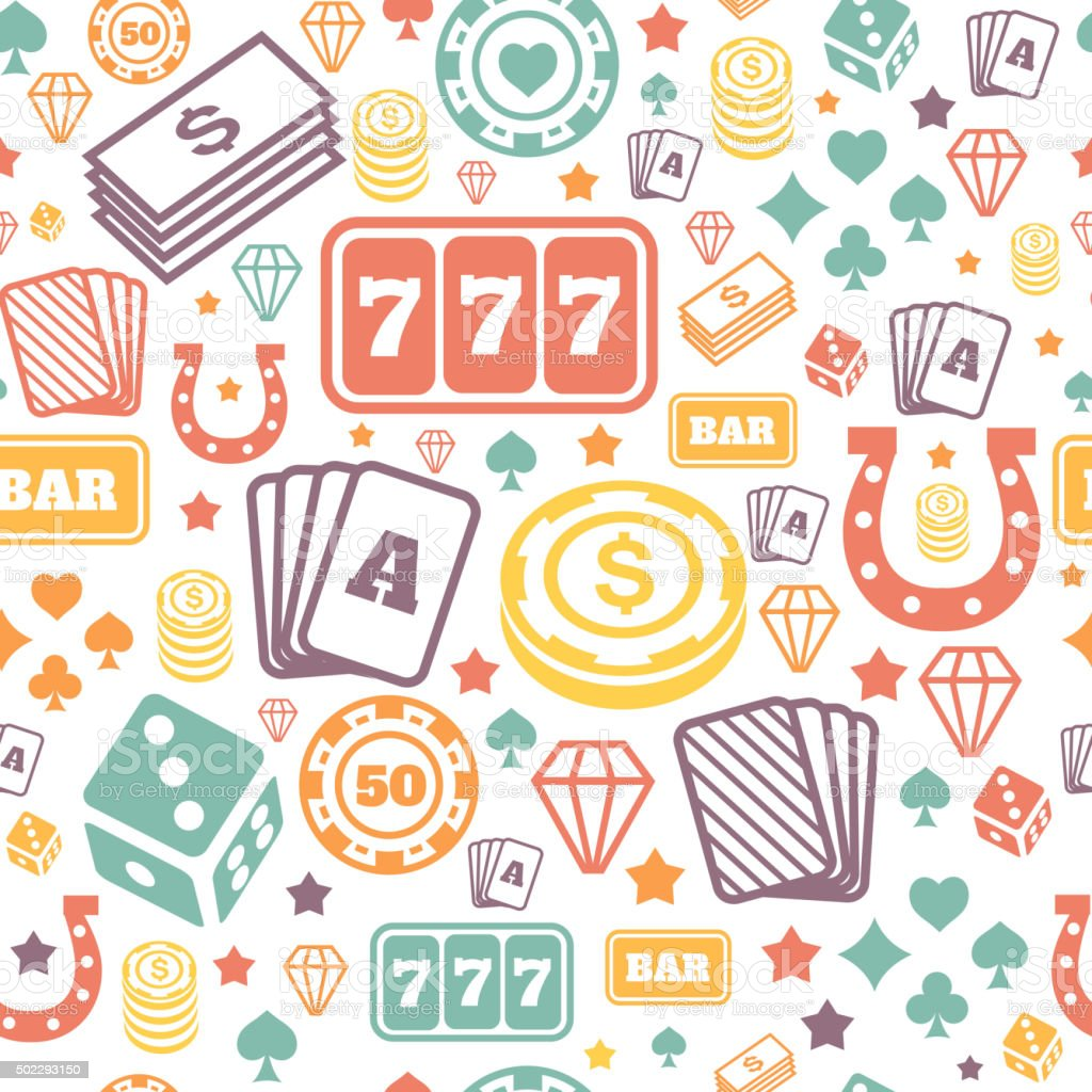 Playing chips and cards seamless pattern. Background vector. Game  casino vector art illustration