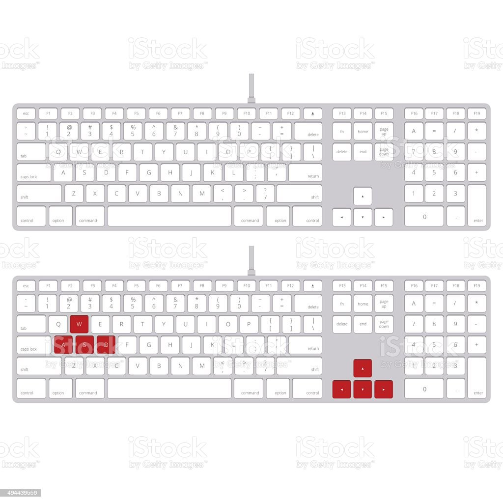 Playing computer keyboard with red button. vector image vector art illustration