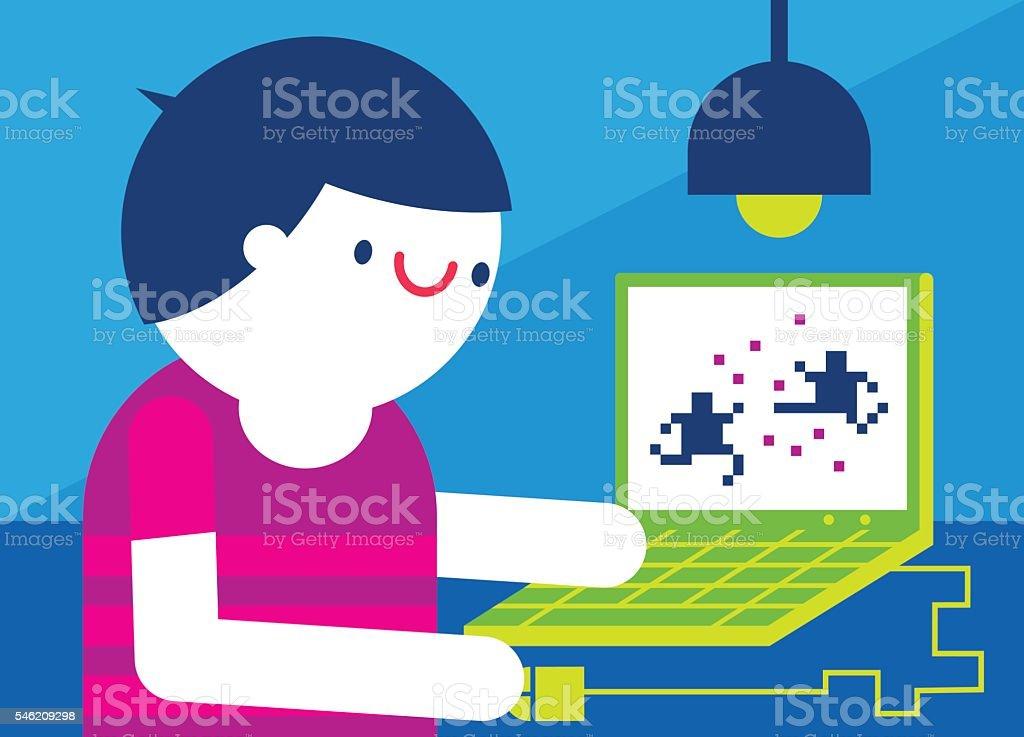 Playing Computer Videogames vector art illustration