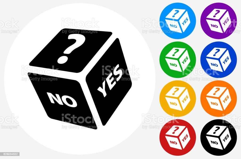 Playing Dice Icon on Flat Color Circle Buttons vector art illustration