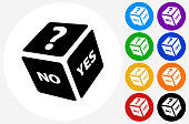 Playing Dice Icon on Flat Color Circle Buttons